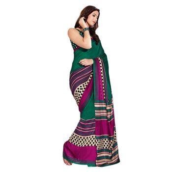 Hypnotex Bhagalpuri and Jacquard Pink and Green Color Designer Saree Fig2315A