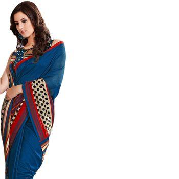 Hypnotex Bhagalpuri and Jacquard Blue Color Designer Saree Fig2315D