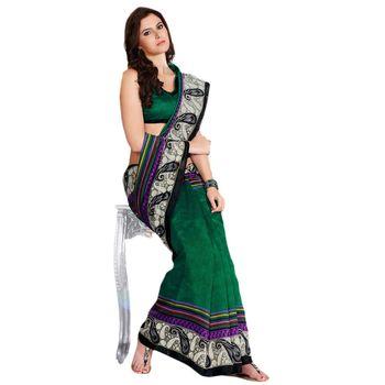 Hypnotex Bhagalpuri and Jacquard Green Color Designer Saree Fig2317A