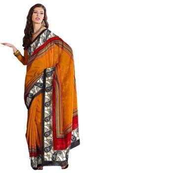 Hypnotex Bhagalpuri and Jacquard Yellow Color Designer Saree Fig2317B