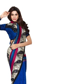 Hypnotex Bhagalpuri and Jacquard Blue Color Designer Saree Fig2317C