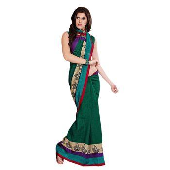 Hypnotex Bhagalpuri Green Color Designer Saree Fig2318B