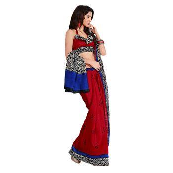 Hypnotex Bhagalpuri Maroon Color Designer Saree Fig2319A