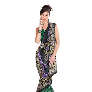 Hypnotex Bhagalpuri Green Color Designer Saree Fig2321D