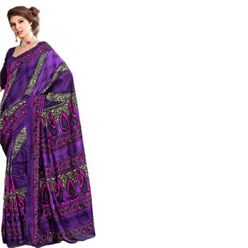 Hypnotex Bhagalpuri Purple Color Designer Saree Fig2322B