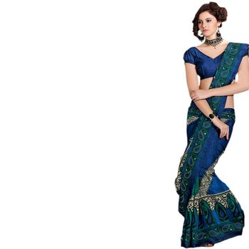 Hypnotex Bhagalpuri Blue Color Designer Saree Fig2322C