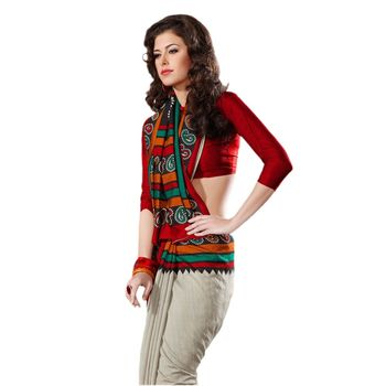Hypnotex Ruby Silk Cream Color Designer Saree Fig2325D