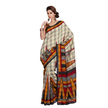 Hypnotex Bhagalpuri Cream Color Designer Saree Fig2326B