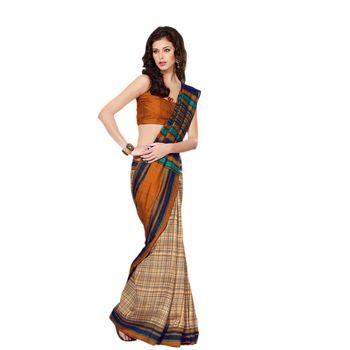 Hypnotex Bhagalpuri Orrange Color Designer Saree Fig2327C