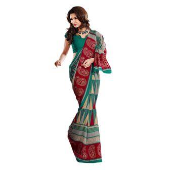 Hypnotex Bhagalpuri Green Color Designer Saree Fig2328D