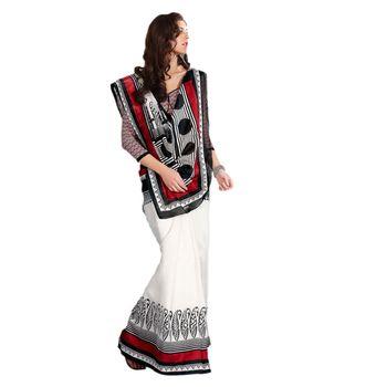 Hypnotex Bhagalpuri Off White Color Designer Saree Fig2330C