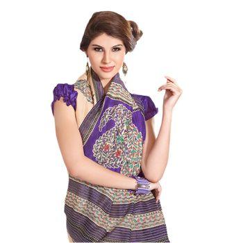 Hypnotex Bhagalpuri Purple Color Designer Saree Fig2332A