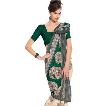 Hypnotex Bhagalpuri Green Color Designer Saree Fig2332D