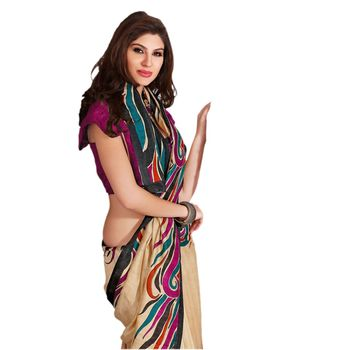 Hypnotex Bhagalpuri Cream Color Designer Saree Fig2334A