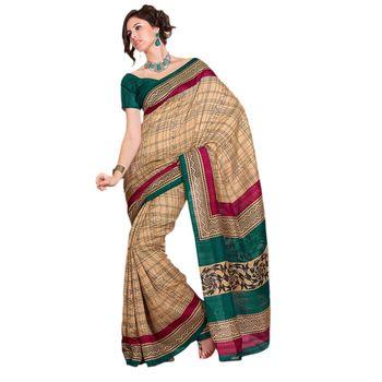 Hypnotex Bhagalpuri Cream Color Designer Saree Fig2335B
