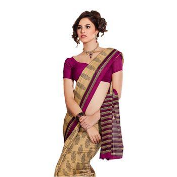 Hypnotex Bhagalpuri Cream Color Designer Saree Fig2336B