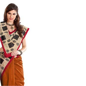 Hypnotex Bhagalpuri Orrange Color Designer Saree Fig2337D