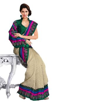 Hypnotex Bhagalpuri and Jacquard Cream Color Designer Saree Fig2338C
