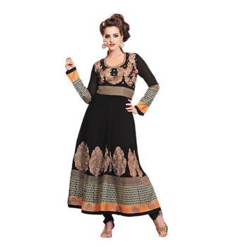Hypnotex Faux georgette Black Color Designer Dress Material Look17006