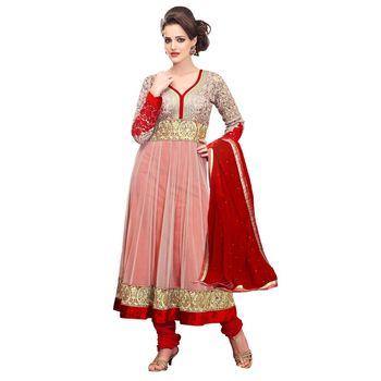 Hypnotex Net Cream Color Designer Dress Material Look17007