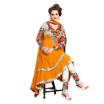 Hypnotex Faux georgette Yellow Color Designer Dress Material Look17008