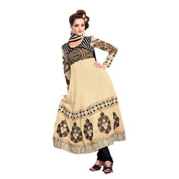 Hypnotex Faux georgette Cream Color Designer Dress Material Look17009