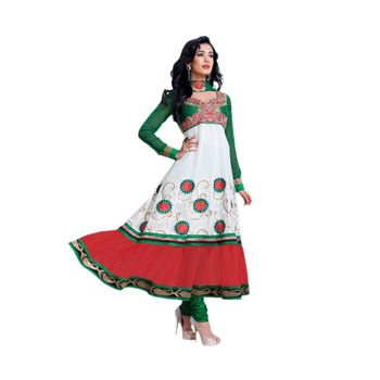 Hypnotex Georgette and Net Off White and Red and Green Color Designer Dress Material Model_Dobara1702