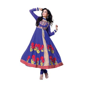 Hypnotex Faux Georgette Navy Blue Color Designer Dress Material Model_Dobara1704B