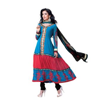 Hypnotex Georgette and Net Blue and red Color Designer Dress Material Model_Dobara1706B