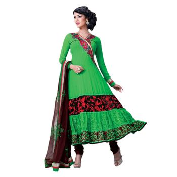 Hypnotex Georgette and Net Green Color Designer Dress Material Model_Dobara1707A