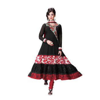 Hypnotex Georgette and Net Black Color Designer Dress Material Model_Dobara1707B