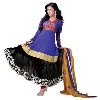 Hypnotex Georgette and Net Purpleand Black Color Designer Dress Material Model_Dobara1708B