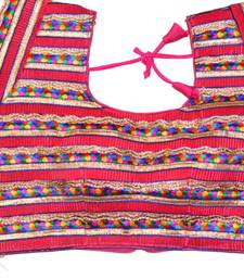 pink hand embroidered exclusive multicolour blouses stitched cotton blouse