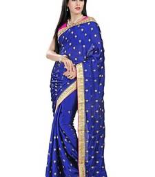Buy Blue printed satin saree with blouse satin-saree online