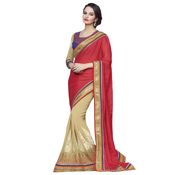 ef04195785b Red and Beige embroidered georgette saree with blouse - Zofey Bollywood  Designer Saree - 773769