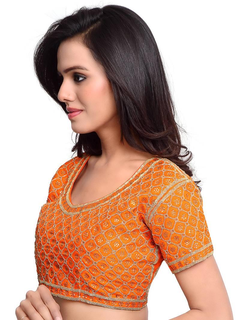 4537e1b91c5214 Orange Color Raw Silk Embroidered Readymade saree blouse designs ...
