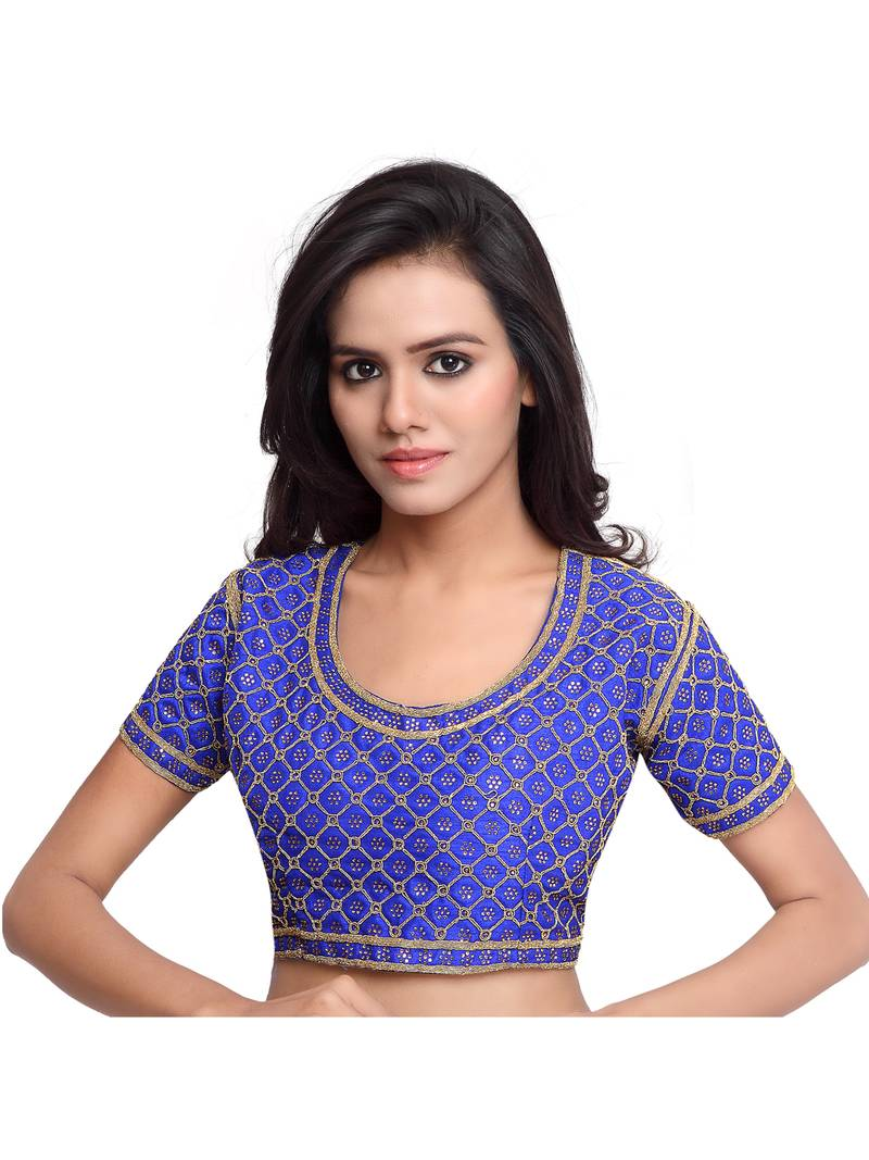 Buy Blue Color Raw Silk Embroidered Readymade saree blouse designs ...