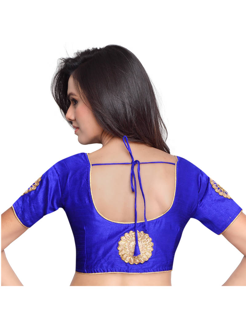 Buy Blue Color Raw Silk Embroidered Readymade latest blouse ...