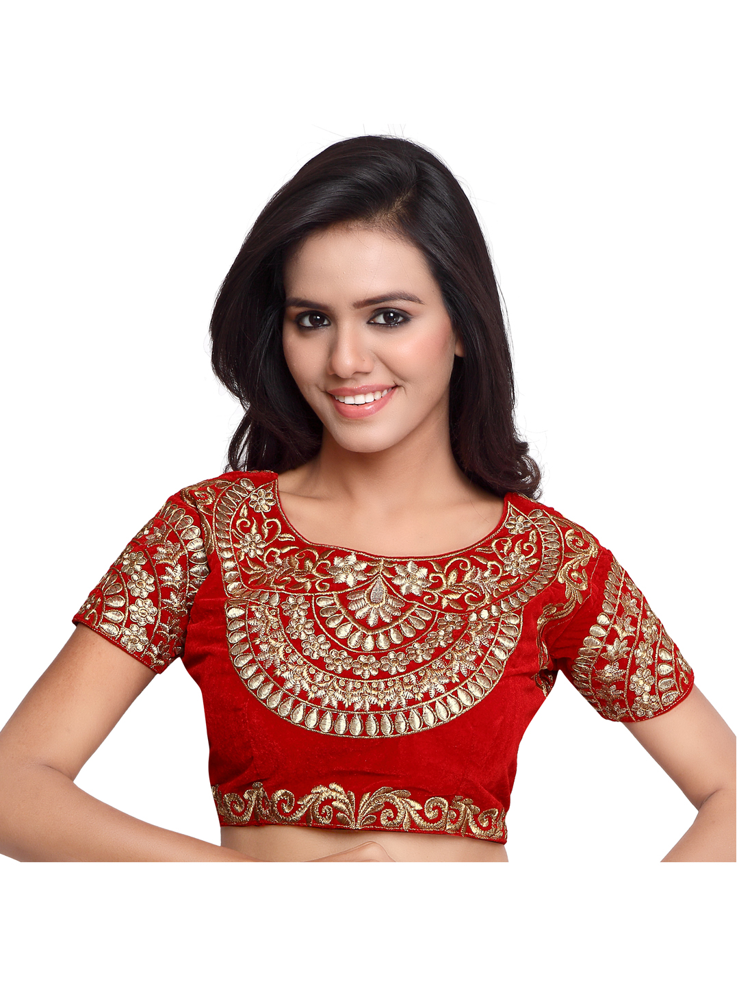 71143b5735 Maroon Color Velvet Embroidered Readymade blouse pattern - Surat Tex -  774147