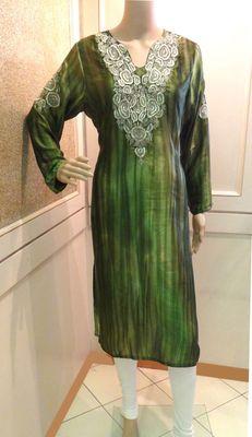 Silk Green Dull Gold Embroidered Kurti