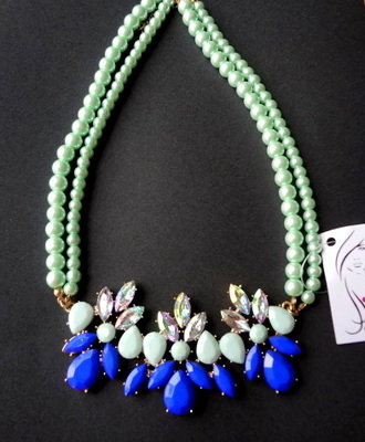 double layer green and blue beaded necklace