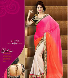 Buy Pink and white embroidered  georgette saree with blouse wedding-saree online