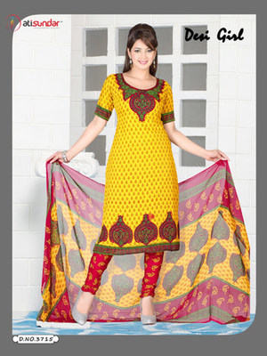 Yellow and Red Crepe plain unstitched salwar with dupatta