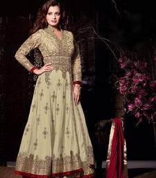 Buy Beige Embroderied net semi stitched salwar with dupatta party-wear-salwar-kameez online