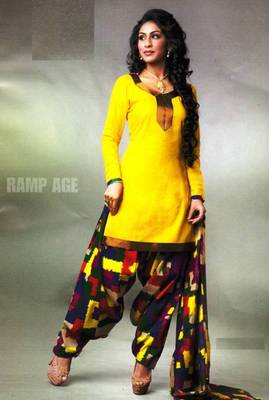 Pichkari Patiyala Dress Material (Printed) Cotton Unstitched with Boarded laces D.No PD134