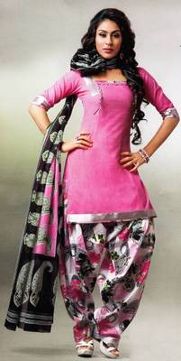 Pichkari Patiyala Dress Material (Printed) Cotton Unstitched with Boarded laces D.No PD136
