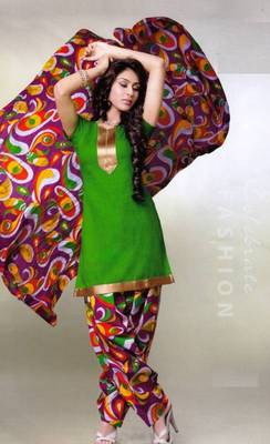 Pichkari Patiyala Dress Material (Printed) Cotton Unstitched with Boarded laces D.No PD137