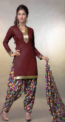 Pichkari Patiyala Dress Material (Printed) Cotton Unstitched with Boarded laces D.No PD139