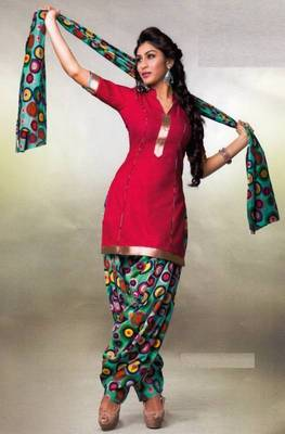Pichkari Patiyala Dress Material (Printed) Cotton Unstitched with Boarded laces D.No PD142