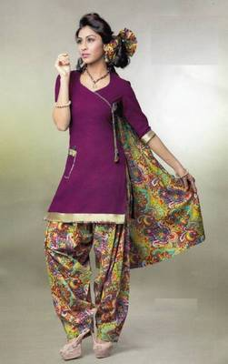 Pichkari Patiyala Dress Material (Printed) Cotton Unstitched with Boarded laces D.No PD144